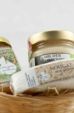 Panier cadeau miel et nougat
