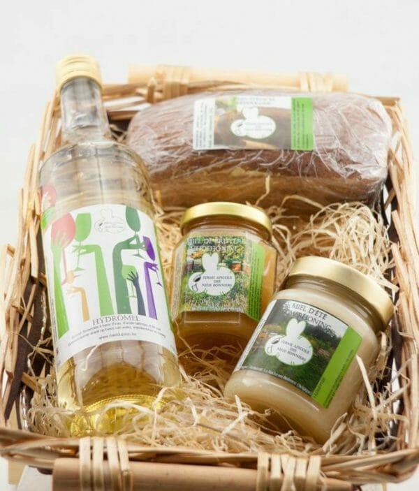 Panier cadeau hydromel miels et pain d'épices