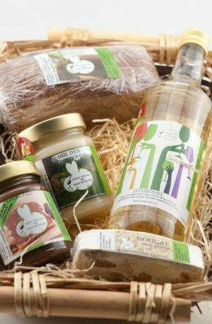 Panier cadeau miel nougat hydromel chocomiel